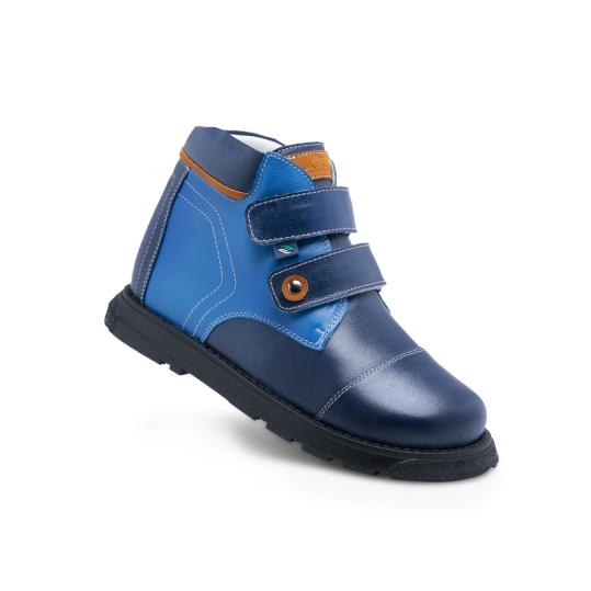 PC105x - Azul M/ Azul R - Bota Ortopédica em couro legítimo bicolor, forro em couro macio acolchoado, solado de borracha látex, salto Thomas e contra forte rígido para uso de palmilhas em arco. 19 ao 36.