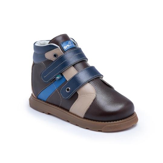 PC106x - Azul Café Bege- Bota Ortopédica em couro legítimo bicolor, forro em couro macio acolchoado, solado de borracha látex, salto Thomas e contra forte rígido para uso de palmilhas em arco. 19 ao 36.