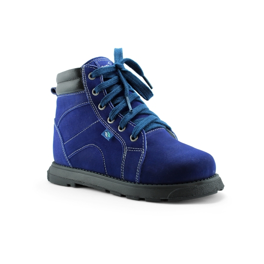 PC100x - Azul - Bota Ortopédica em couro legítimo bicolor, forro em couro macio acolchoado, solado de borracha látex, salto Thomas e contra forte rígido para uso de palmilhas em arco. 19 ao 36.