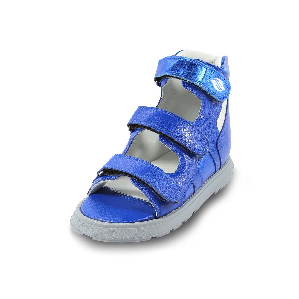 PC300x Azul Espacial Sandália cano alto em couro, forro em couro, contra forte rígido, correias em velcro, solado em borracha látex, ajuda na estabilização, também indicado para o tratamento de Therasuit. Numeração do 19 ao 36.